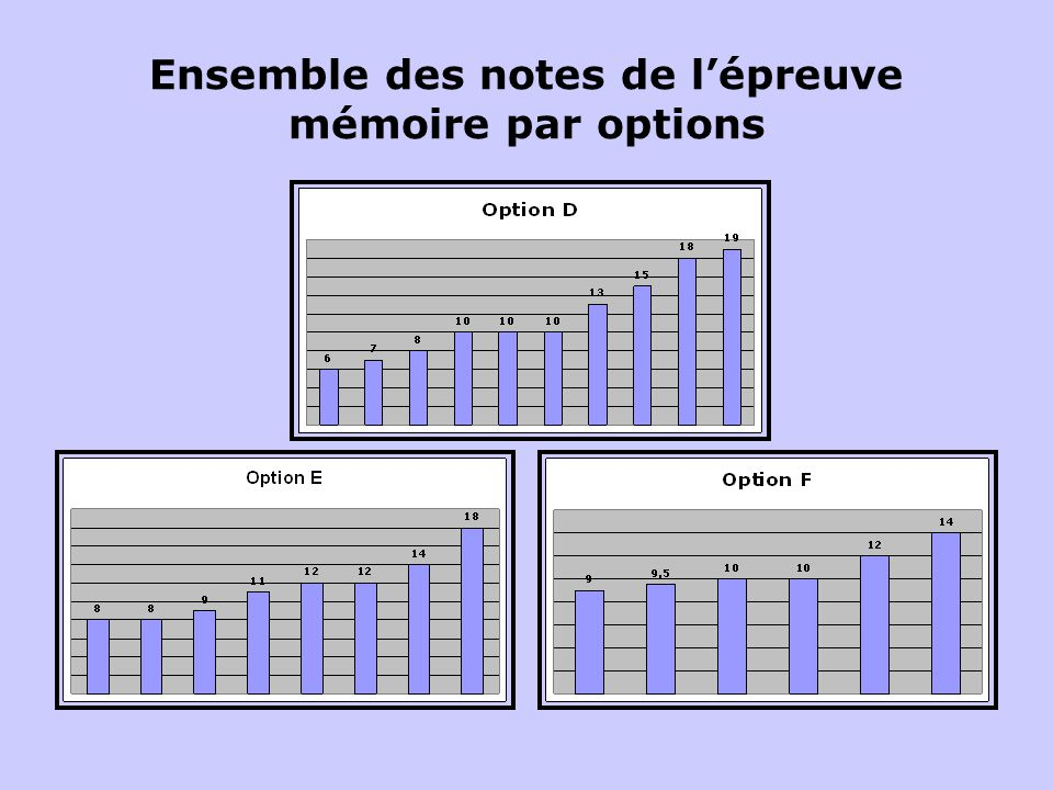 Ensemble des notes de l'épreuve mémoire par options