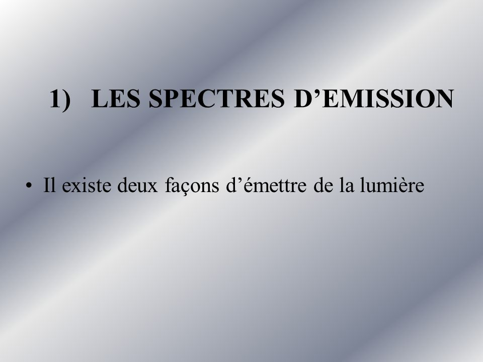 1) LES SPECTRES D'EMISSION