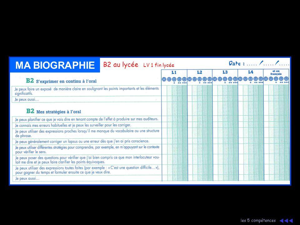 MA BIOGRAPHIE B2 au lycée LV 1 fin lycée les 5 compétences 