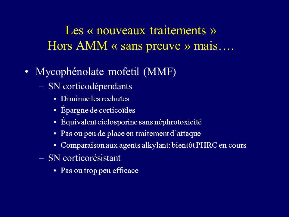 Les « nouveaux traitements » Hors AMM « sans preuve » mais….