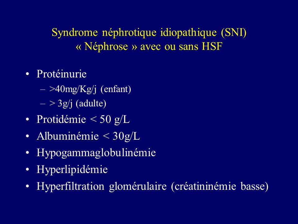 Syndrome néphrotique idiopathique (SNI) « Néphrose » avec ou sans HSF
