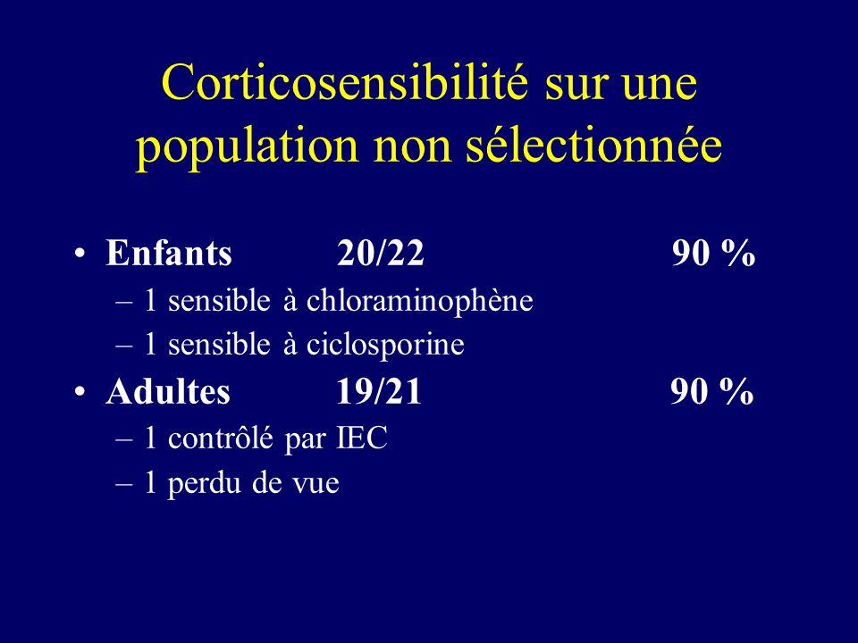 Corticosensibilité sur une population non sélectionnée