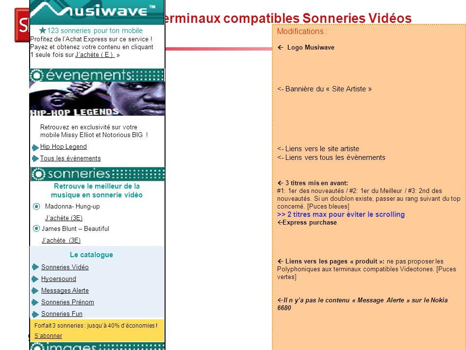 Page d'accueil terminaux compatibles Sonneries Vidéos