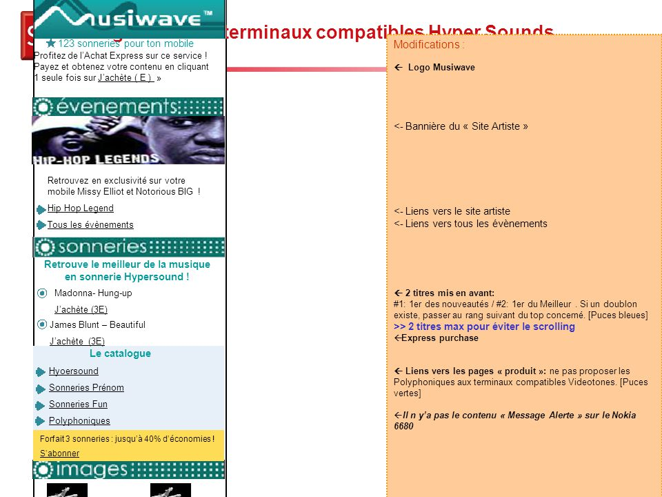 Page d'accueil terminaux compatibles Hyper Sounds