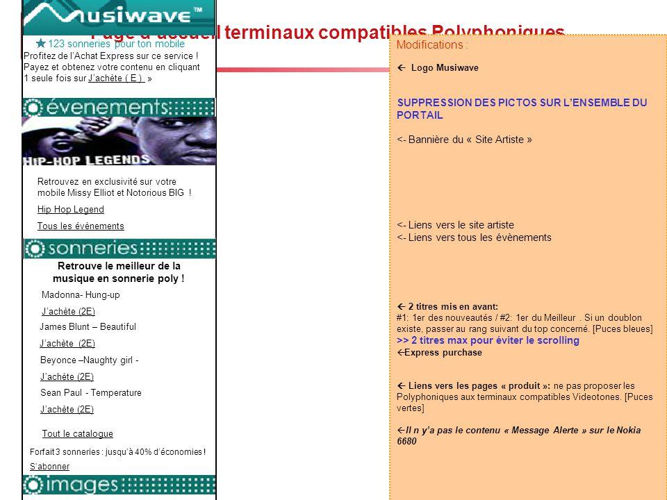 Page d'accueil terminaux compatibles Polyphoniques