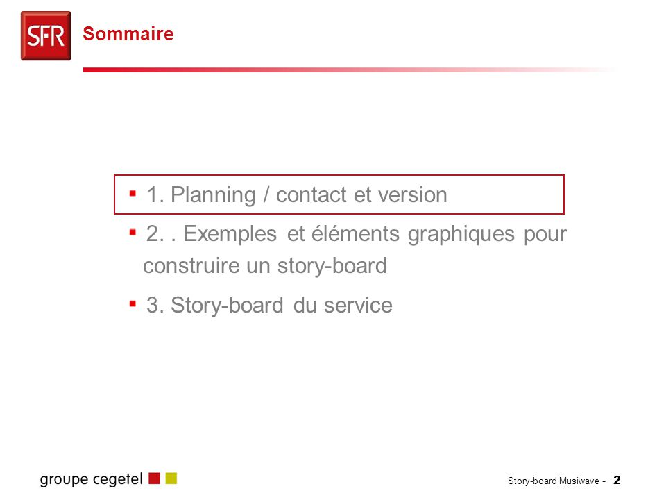 1. Planning / contact et version