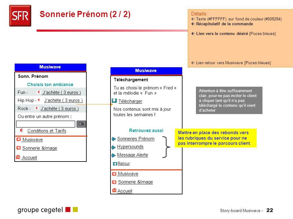 Sonnerie Prénom (2 / 2) Détails : Musiwave Musiwave Sonn. Prénom