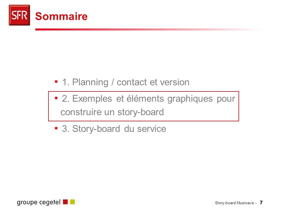 Sommaire 1. Planning / contact et version