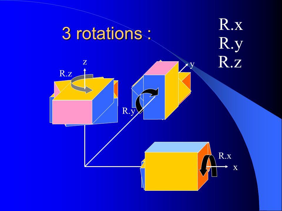 R.x 3 rotations : R.y R.z z y R.z R.y R.x x