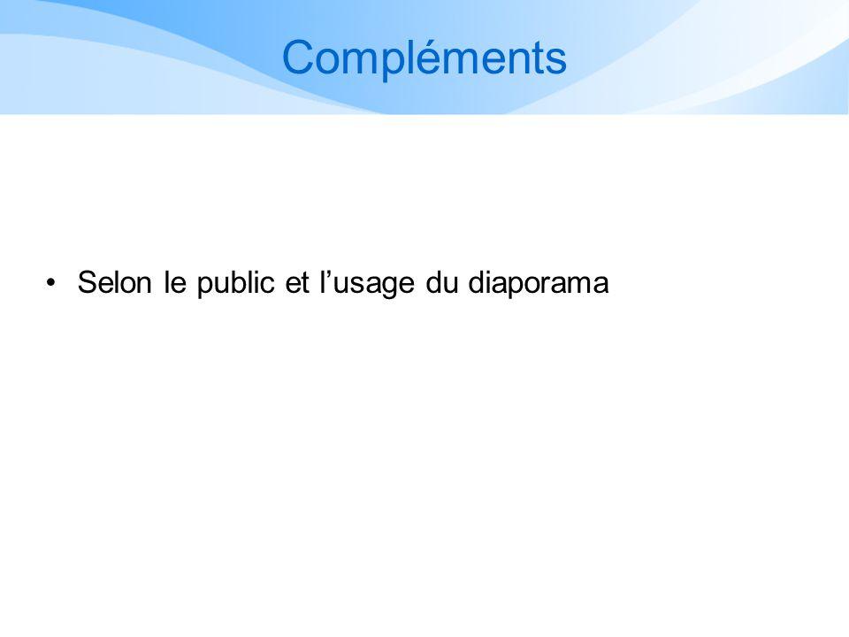 Compléments Selon le public et l'usage du diaporama