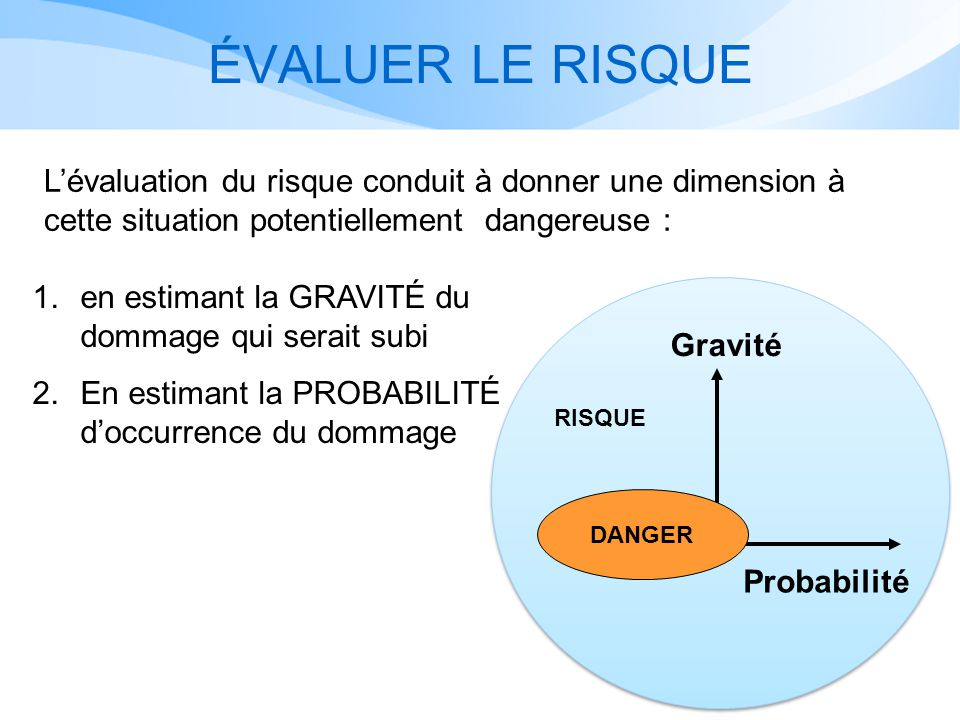 ÉVALUER LE RISQUE L'évaluation du risque conduit à donner une dimension à cette situation potentiellement dangereuse :