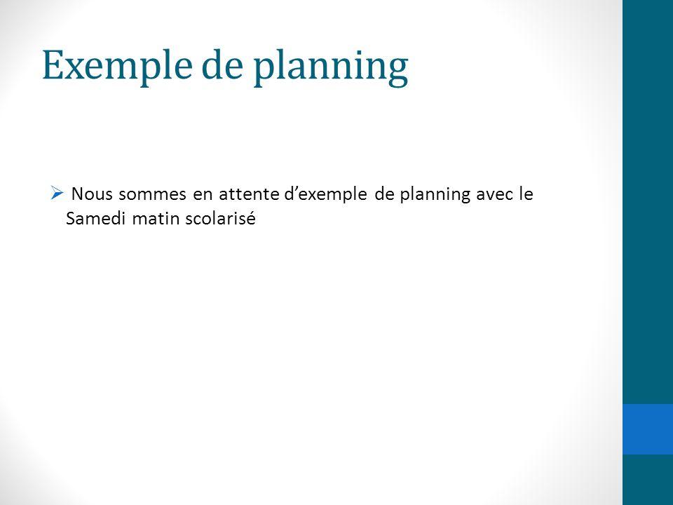 Exemple de planning Nous sommes en attente d'exemple de planning avec le Samedi matin scolarisé