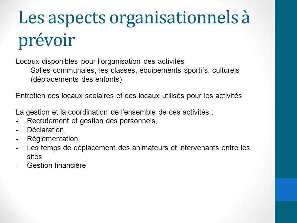 Les aspects organisationnels à prévoir