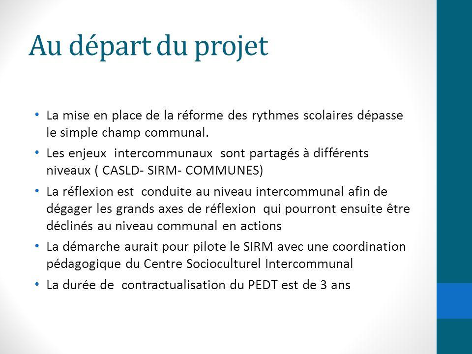 Au départ du projet La mise en place de la réforme des rythmes scolaires dépasse le simple champ communal.