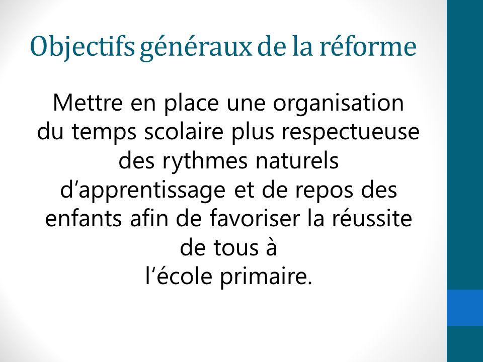 Objectifs généraux de la réforme