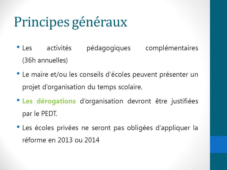 Principes généraux Les activités pédagogiques complémentaires (36h annuelles)