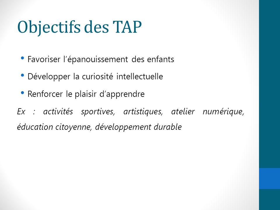 Objectifs des TAP Favoriser l'épanouissement des enfants