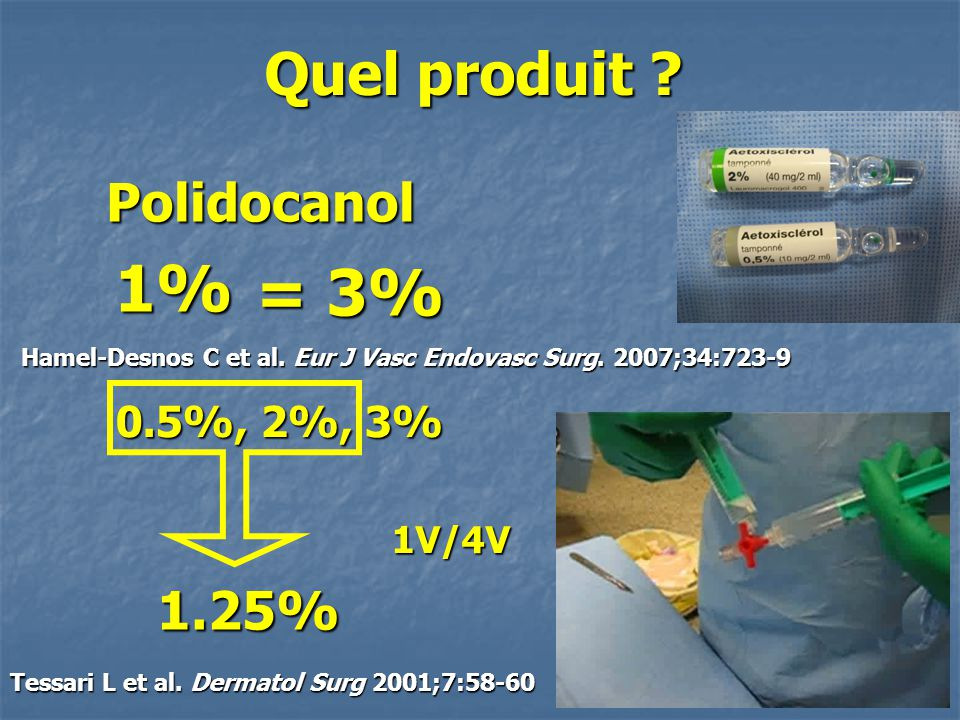 1% = 3% Quel produit Polidocanol 1.25% 0.5%, 2%, 3% 1V/4V