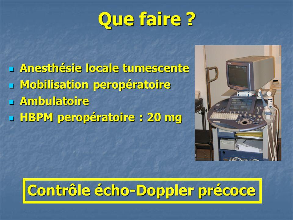 Que faire Contrôle écho-Doppler précoce Anesthésie locale tumescente