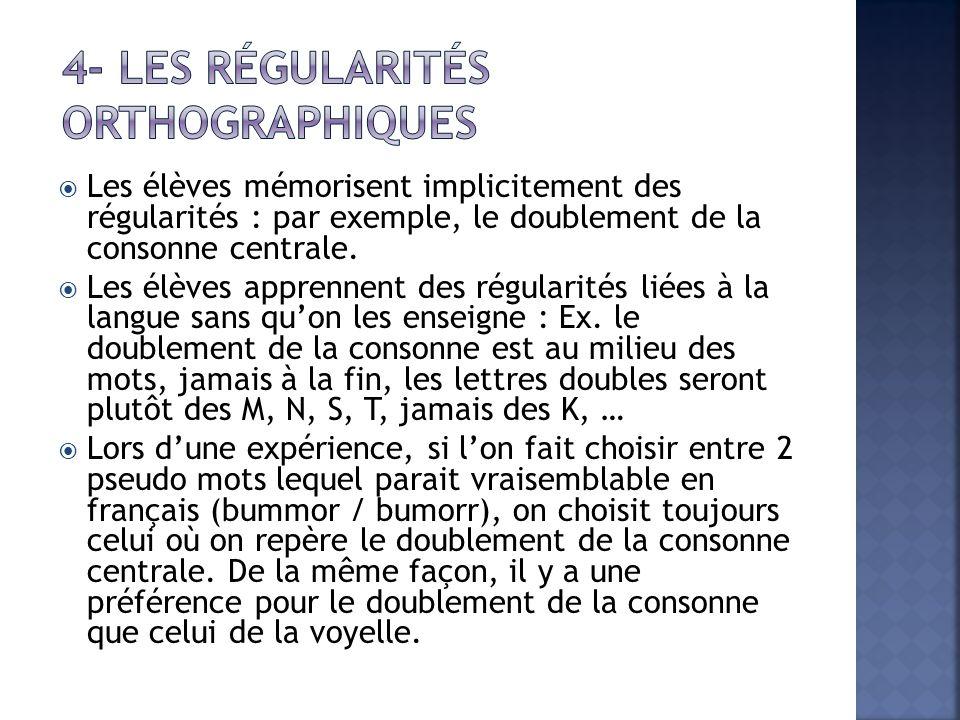 4- Les régularités orthographiques