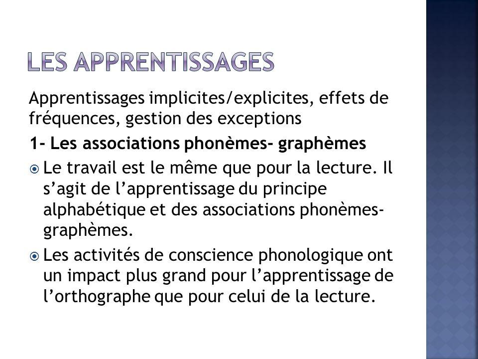Les apprentissages Apprentissages implicites/explicites, effets de fréquences, gestion des exceptions.