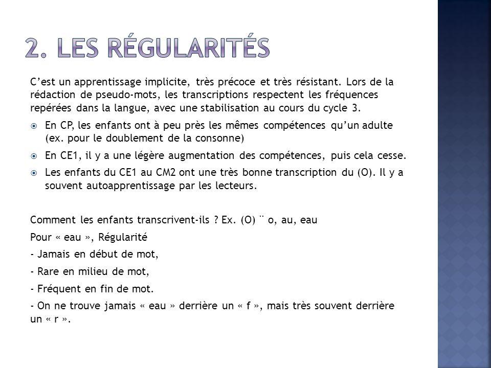2. Les régularités