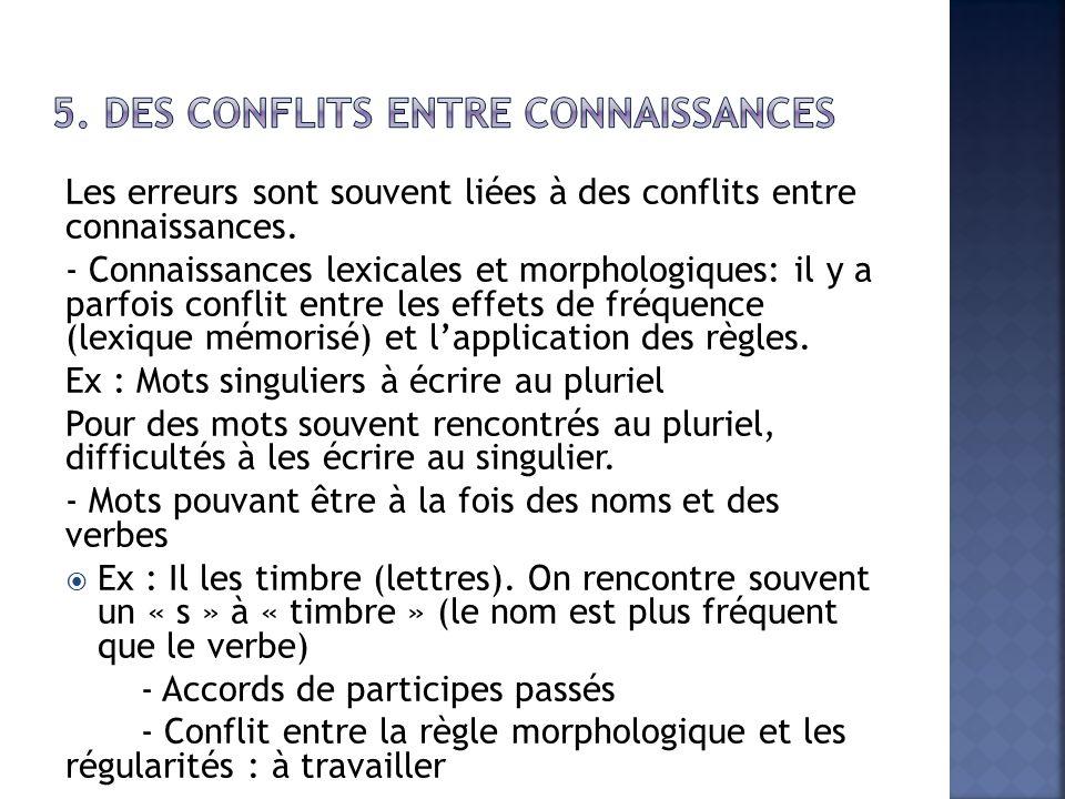 5. Des conflits entre connaissances