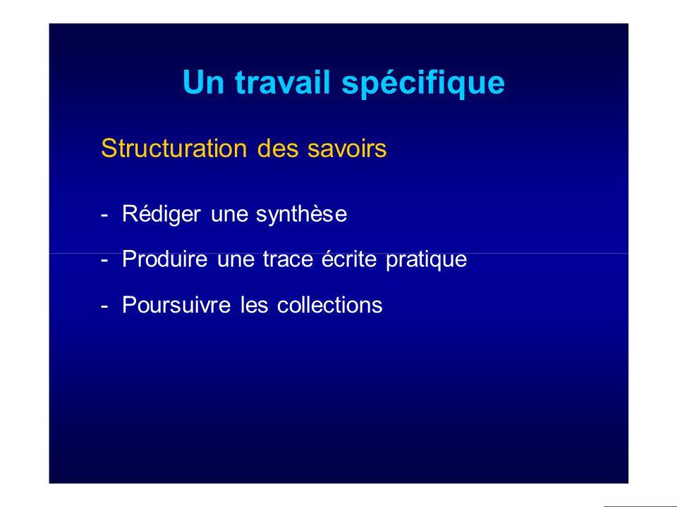 Un travail spécifique Structuration des savoirs - Rédiger une synthèse