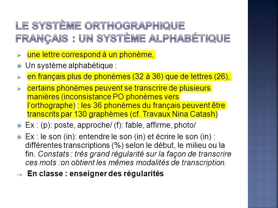 Le système orthographique français : un système alphabétique