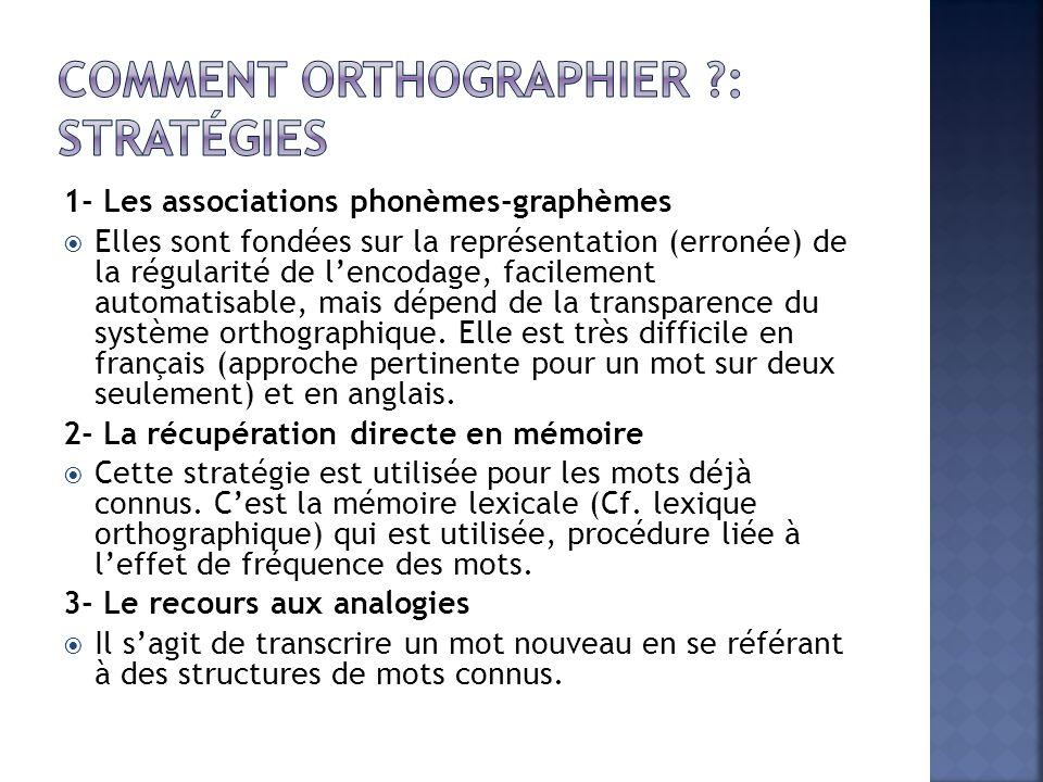 Comment orthographier : Stratégies