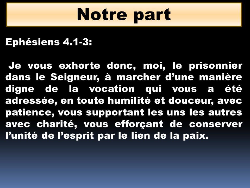 Notre part Ephésiens 4.1-3: