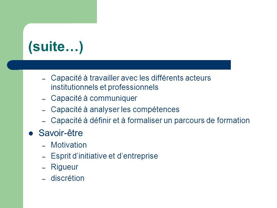 (suite…) Capacité à travailler avec les différents acteurs institutionnels et professionnels. Capacité à communiquer.