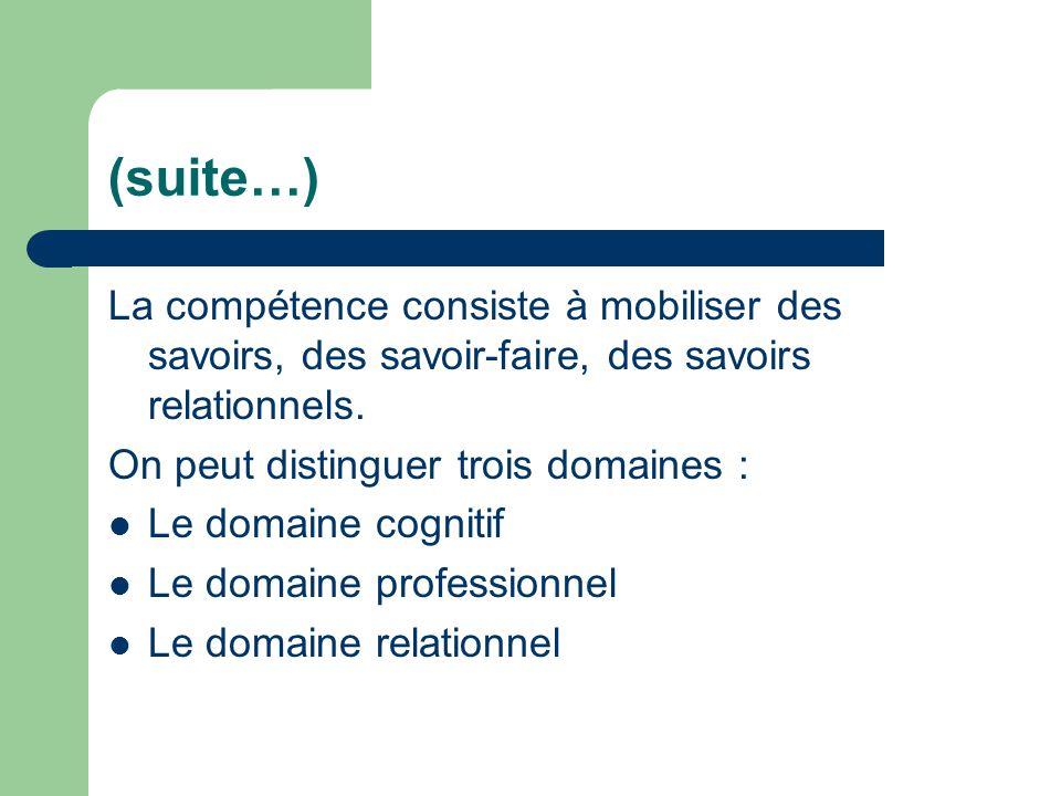 (suite…) La compétence consiste à mobiliser des savoirs, des savoir-faire, des savoirs relationnels.