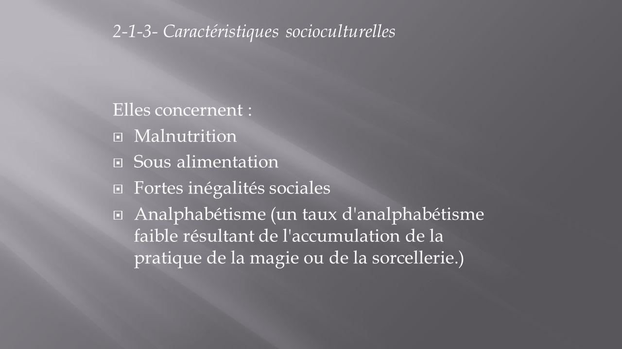 2-1-3- Caractéristiques socioculturelles