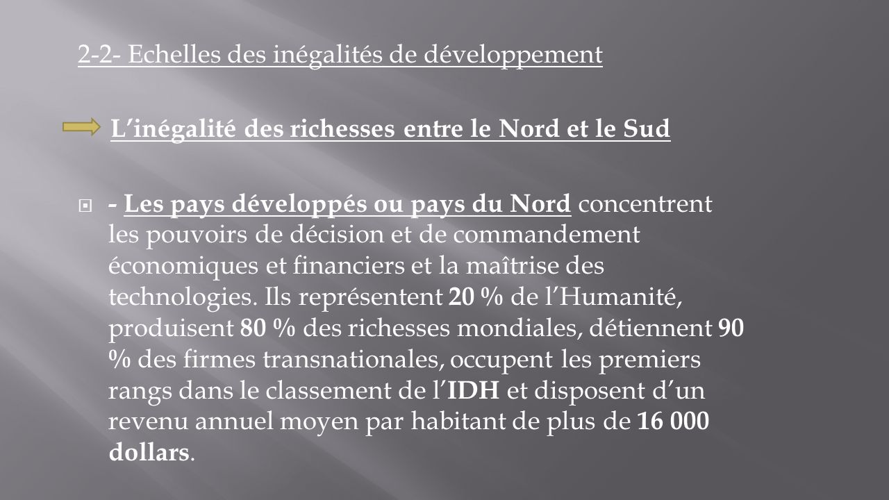 2-2- Echelles des inégalités de développement