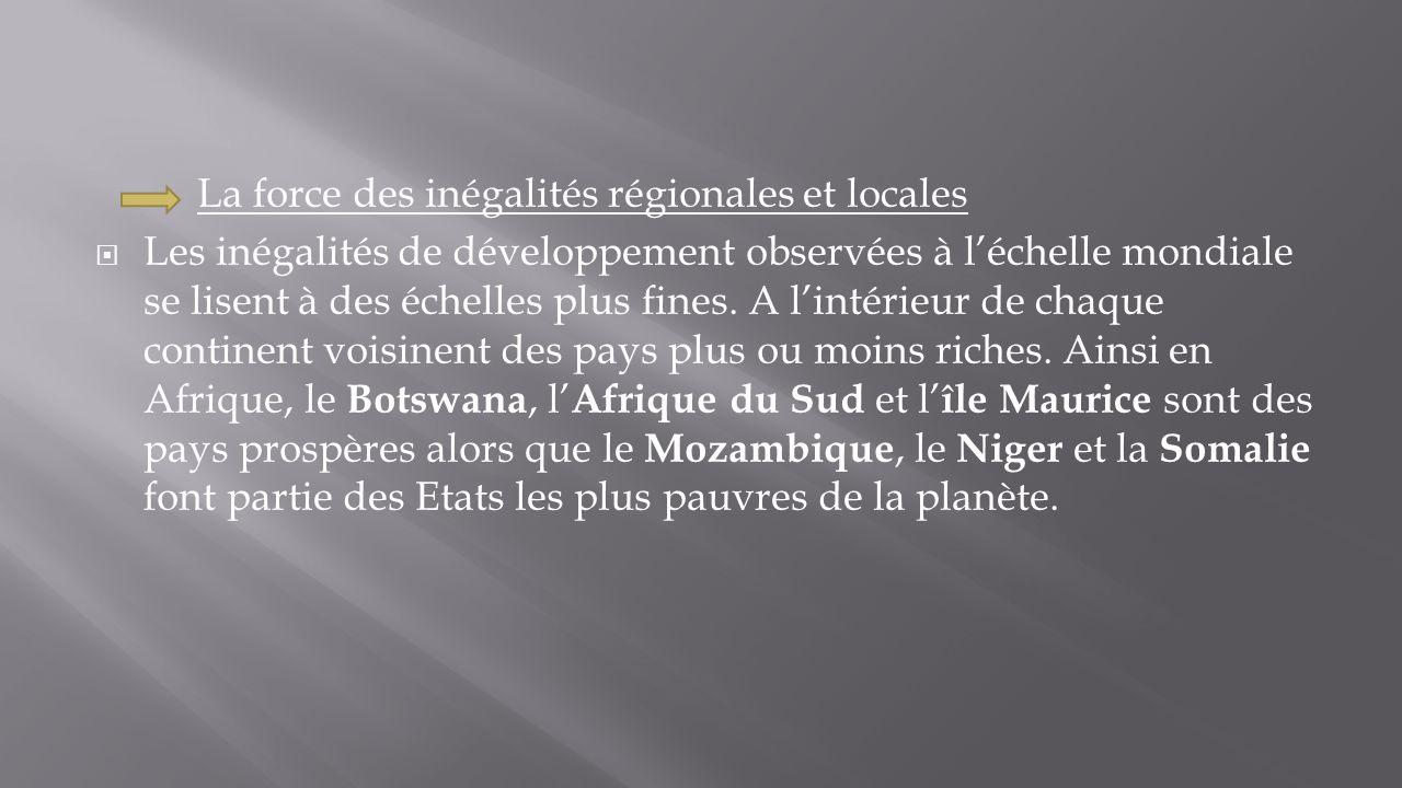La force des inégalités régionales et locales