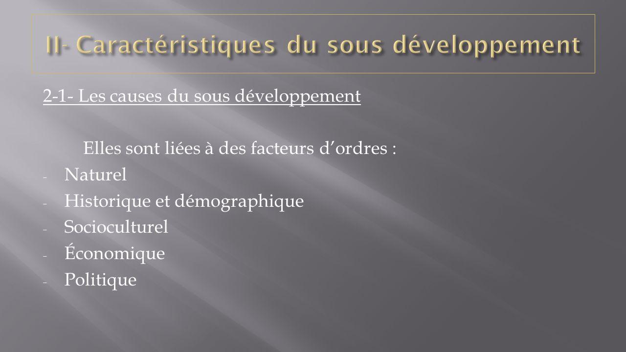 II- Caractéristiques du sous développement