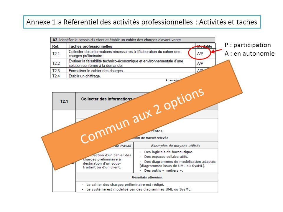 Annexe 1.a Référentiel des activités professionnelles : Activités et taches