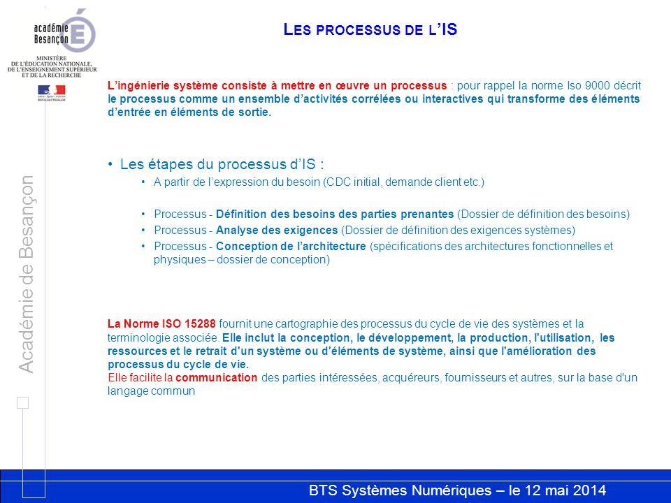 Les processus de l'IS Les étapes du processus d'IS :