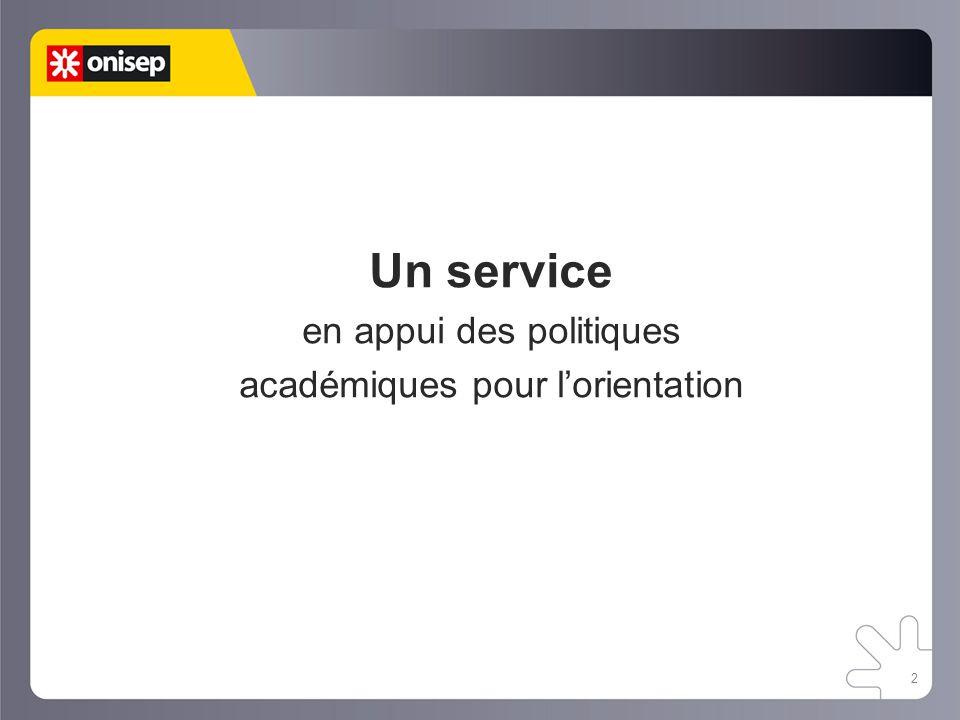 Un service en appui des politiques académiques pour l'orientation