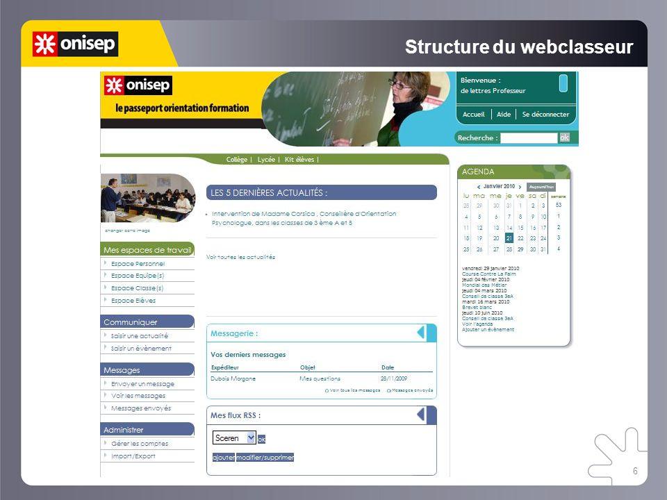 Structure du webclasseur