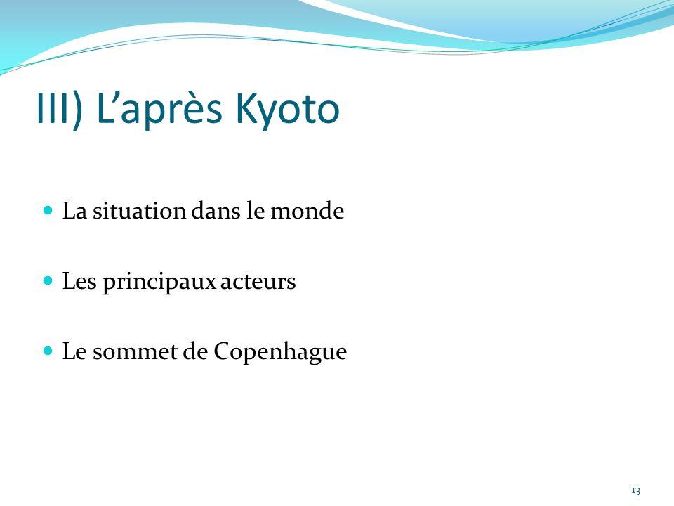 III) L'après Kyoto La situation dans le monde Les principaux acteurs