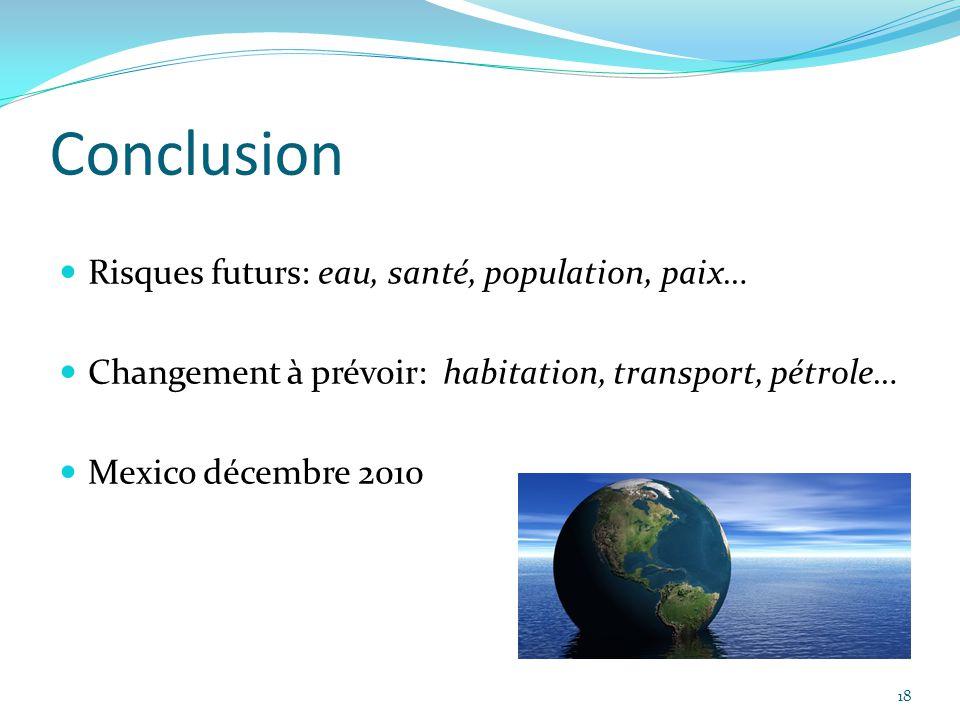 Conclusion Risques futurs: eau, santé, population, paix…