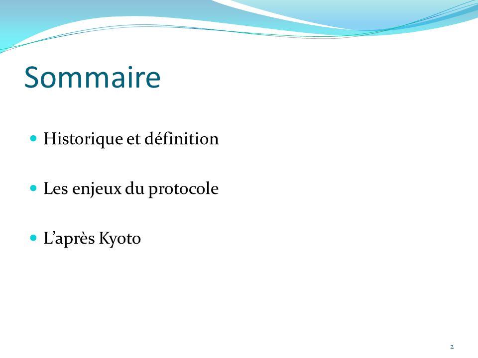 Sommaire Historique et définition Les enjeux du protocole