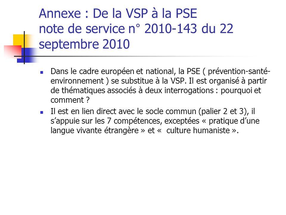 Annexe : De la VSP à la PSE note de service n° 2010-143 du 22 septembre 2010