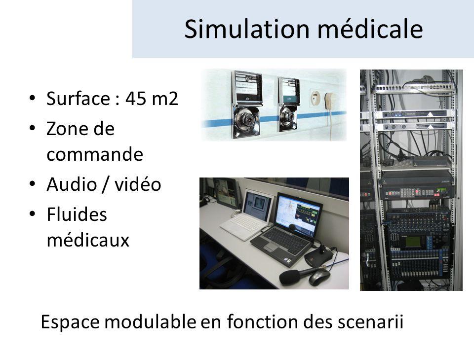 Simulation médicale Surface : 45 m2 Zone de commande Audio / vidéo