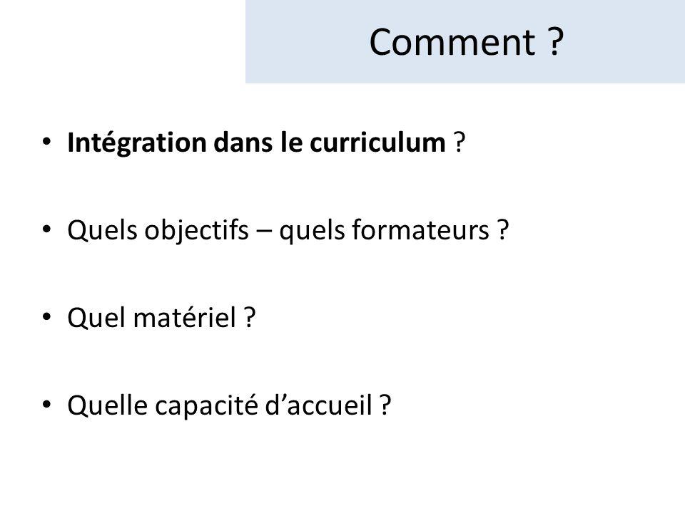Comment Intégration dans le curriculum