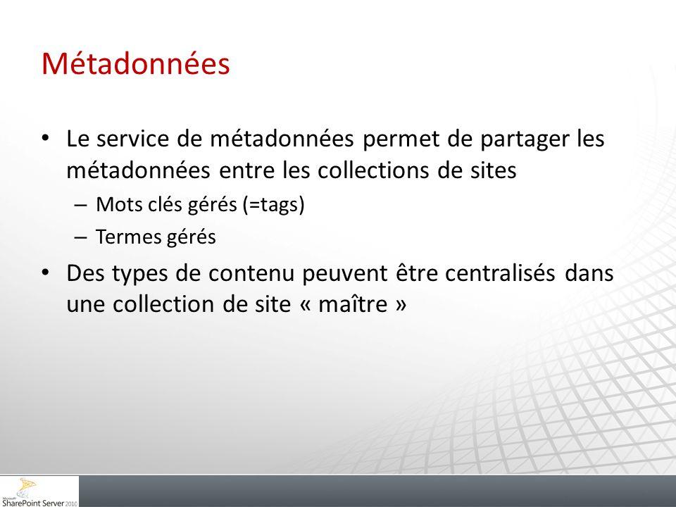 Métadonnées Le service de métadonnées permet de partager les métadonnées entre les collections de sites.
