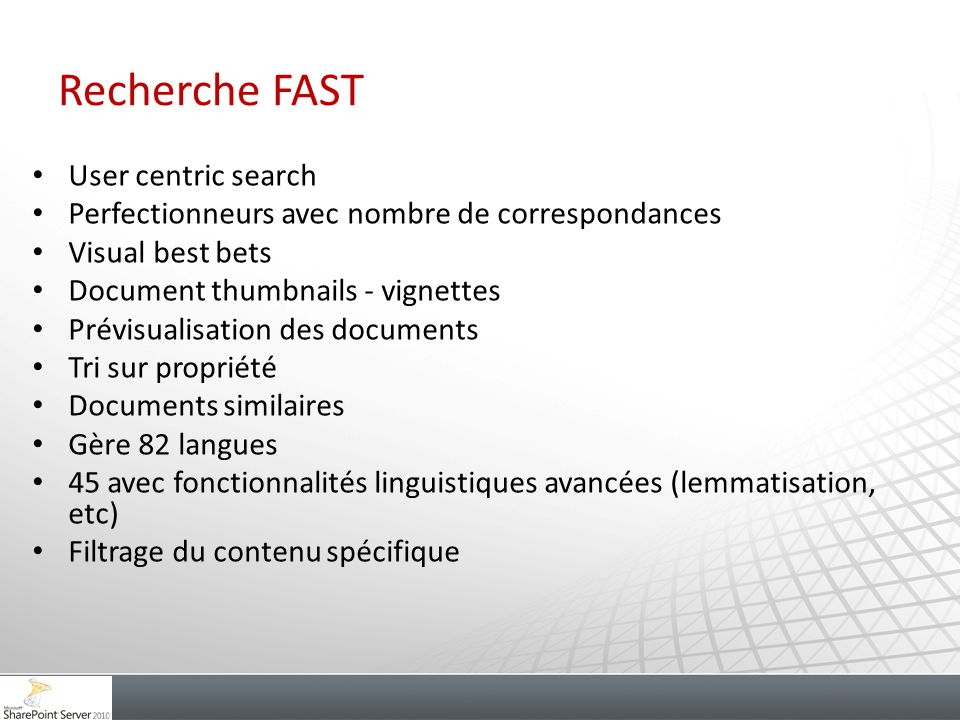 Recherche FAST User centric search