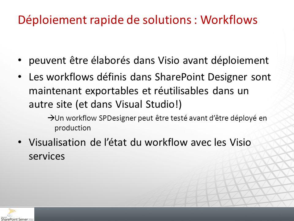 Déploiement rapide de solutions : Workflows